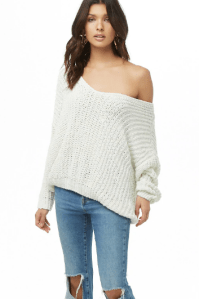 Forever 21 Open Knit Chenille Sweater White