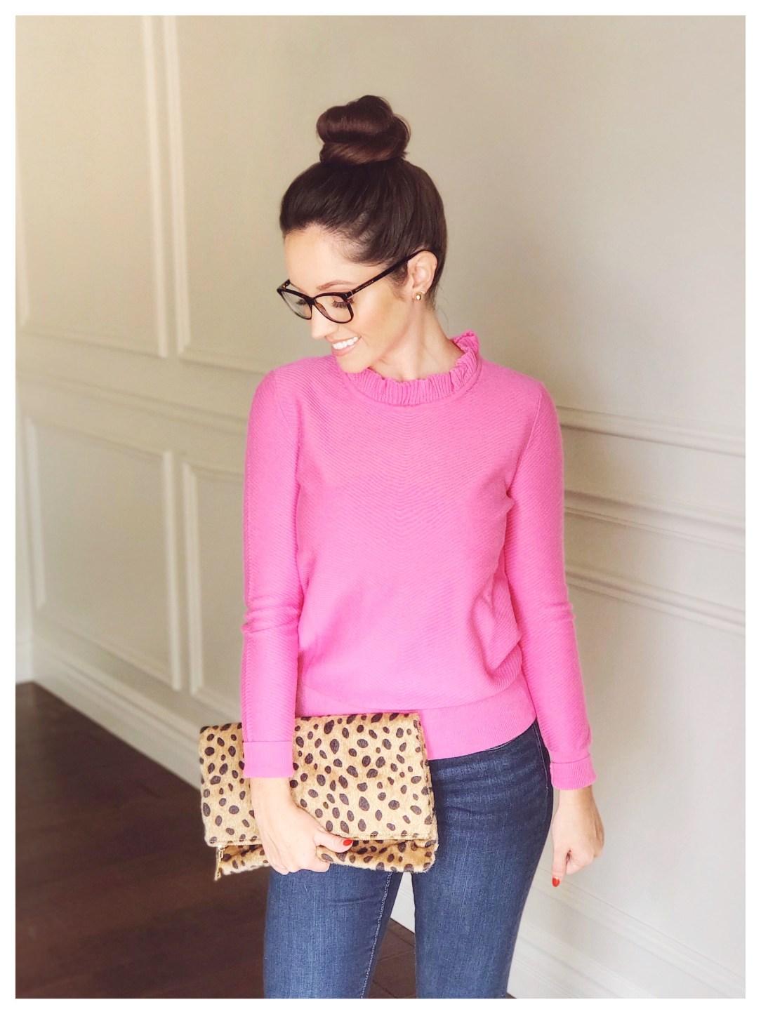 Petite Fashion Blogger Five Foot Feminine in JCrew Ruffle Neck Pullover