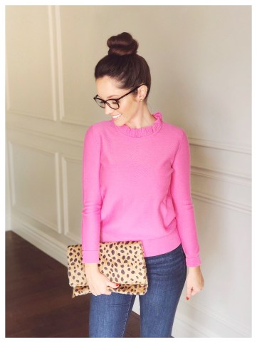 Petite Fashion Blogger Five Foot Feminine in JCrew Ruffle Neck Pullover