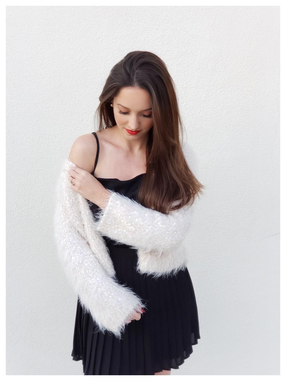 Petite Fashion Blogger Five Foot Feminine in Anthropologie Eyelash Cardigan