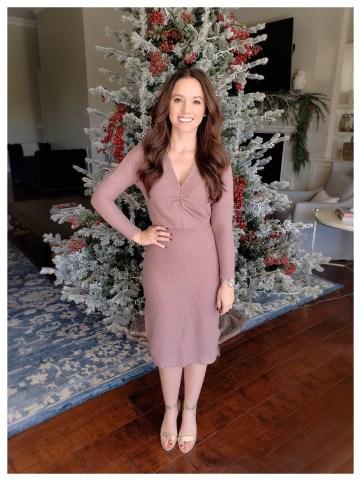 Petite Fashion Blogger Five Foot Feminine in Anthropologie Winter Splendor Dress