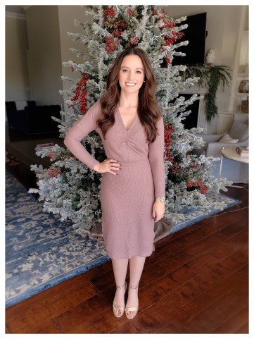 Petite Fashion Blogger Five Foot Feminine in Anthropologie Winter Splendor Dress