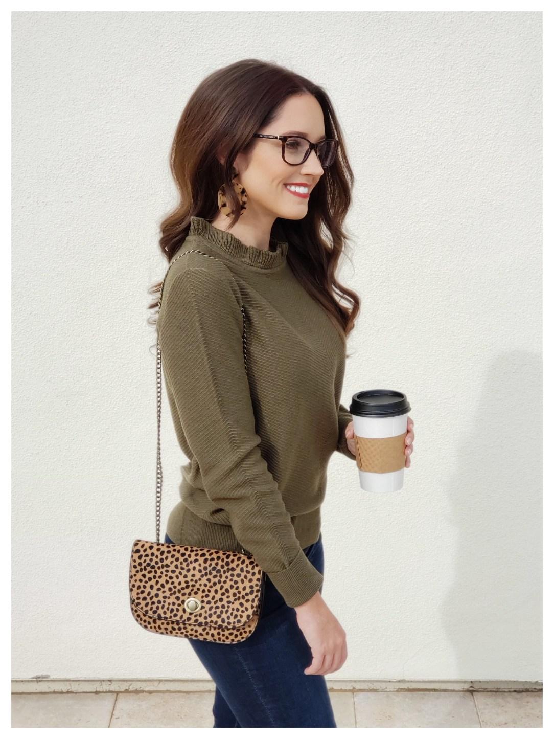 Petite Fashion Blogger Five Foot Feminine in JCREW Ruffle neck sweater
