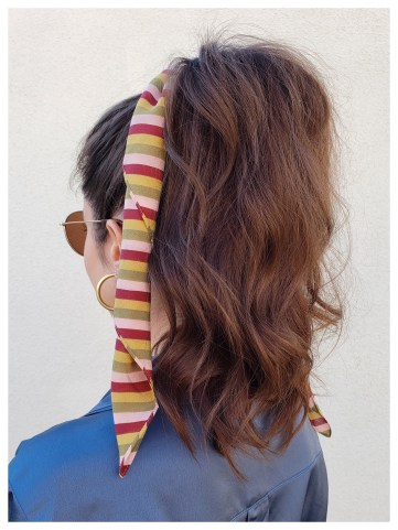 Petite Fashion Blogger Five Foot Feminine with a Bandana Ponytail