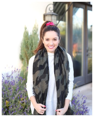 Five Foot Feminine in Anthropologie Camo Scarf