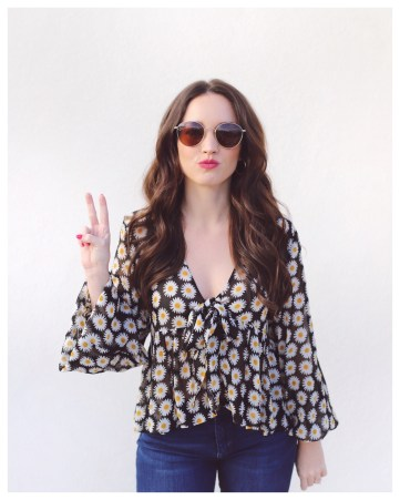 Zara FLORAL PRINT BLOUSE WITH RUFFLE on Five Foot Feminine