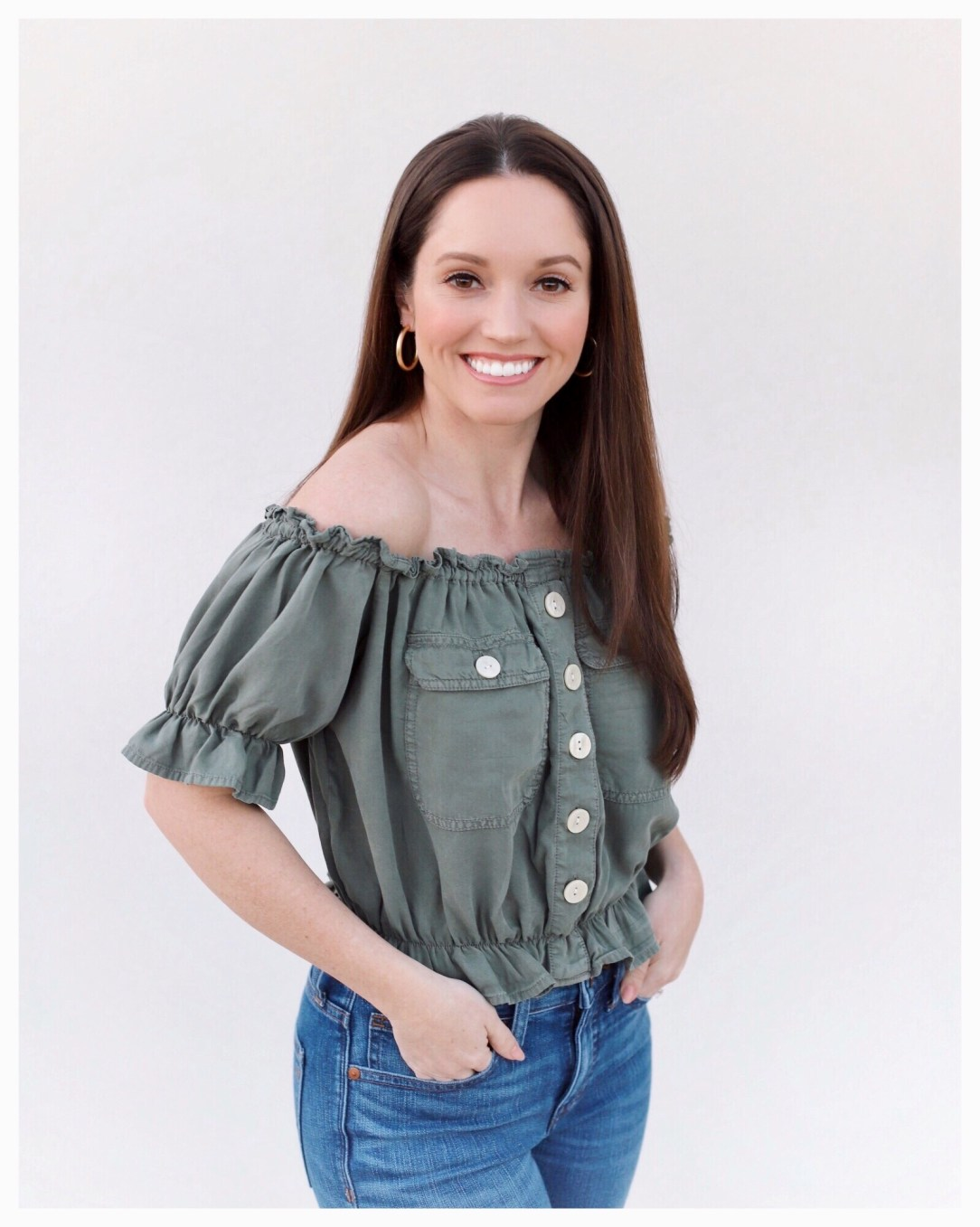 Five Foot Feminine in Olive Green Utility Top