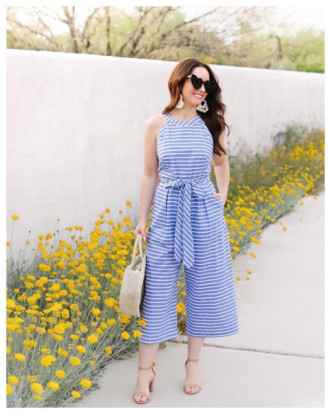 Five Foot Feminine in Blue and White Stripe Jumper