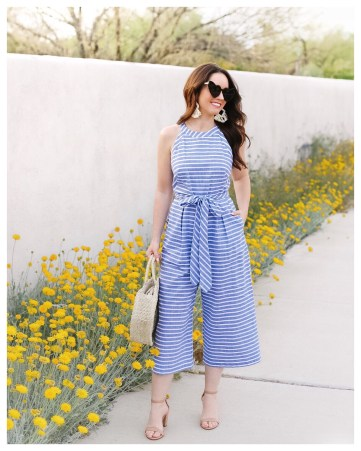 Five Foot Feminine in Blue and White Stripe Jumper