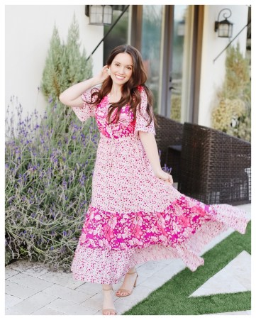 Five Foot Feminine in a Pink Floral Maxi Dress
