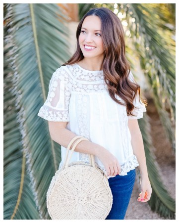 Lace Anthropologie Top on Five Foot Feminine