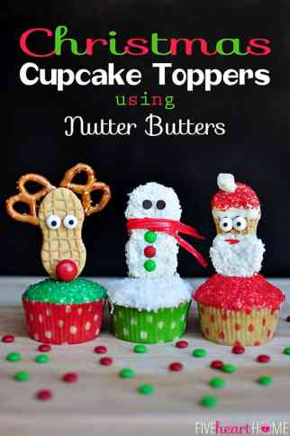 Christmas Cupcake Toppers Using Nutter Butters (Snowman, Reindeer, and Santa) | {Five Heart Home}