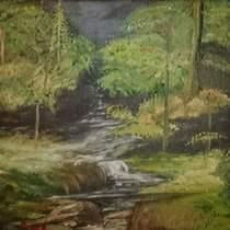 Monica Boud Forest Scene Oil Painting