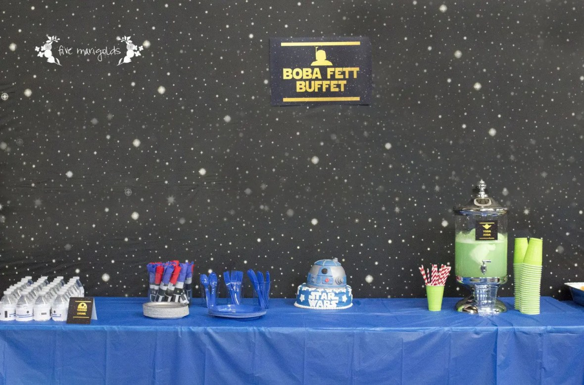 Star Wars Birthday Party Boba Fett Buffet | www.fivemarigolds.com