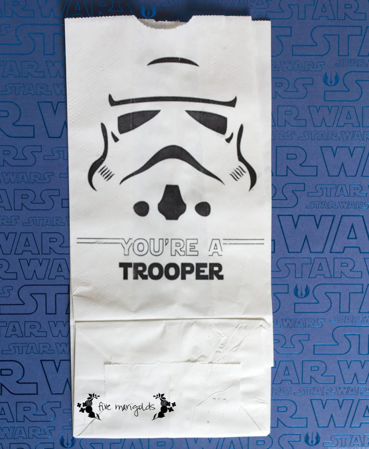 Free Printable Star Wars Storm Trooper Favor Bags | Five Marigolds