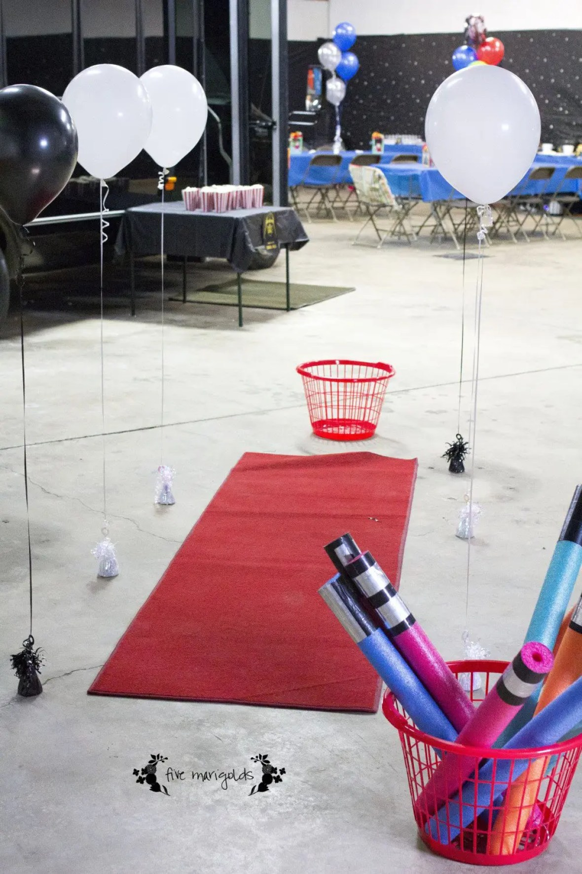 Star Wars Birthday Party Jedi Training Course with Balloons and Pool Noodles | www.fivemarigolds.com