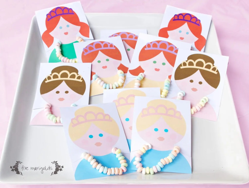 Princess Candy Necklace Party Favors | Five Marigolds