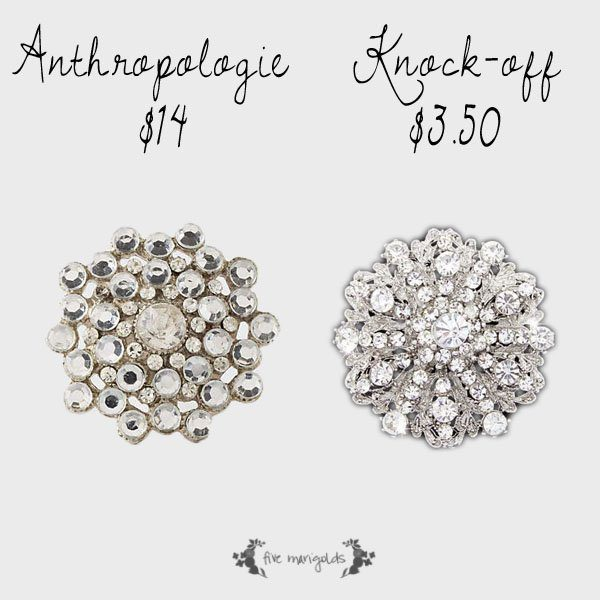 Copycat Chic: Anthropologie Keepsake Brooch Knobs. Get the look for less with rhinestone brooches and inexpensive cabinet pulls | Five Marigolds