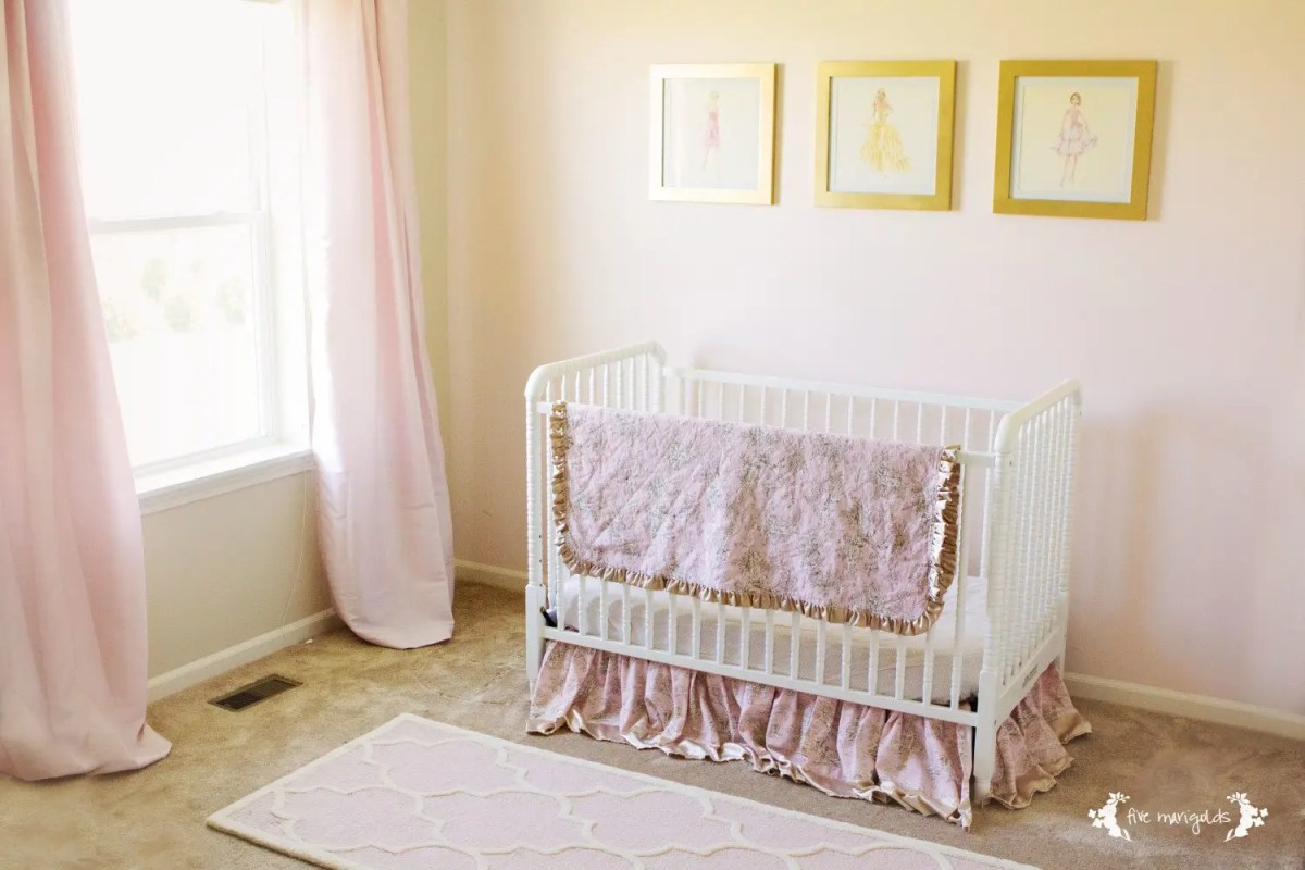 Vintage Barbie Nursery Art using calendars and Rust-Oleum Metallic spray paint for less than $15