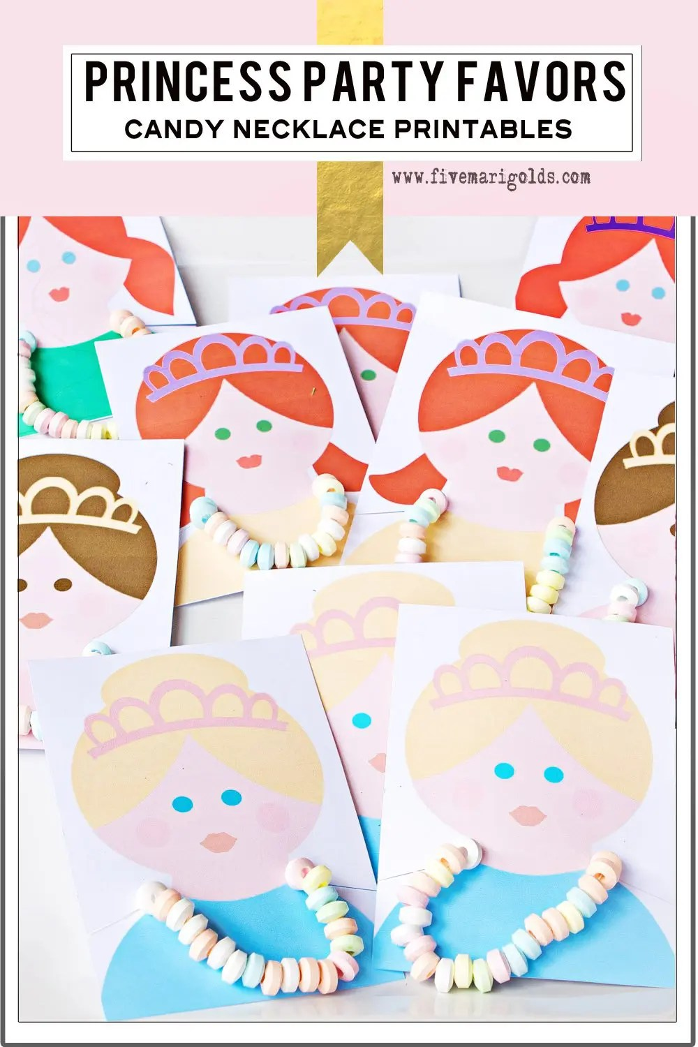 These are so adorable! Printable candy necklace birthday party favor cards.