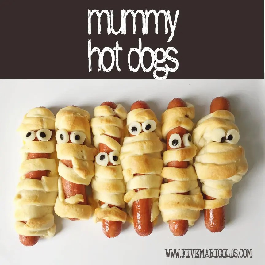 Halloween Treat Round-up: Mummy Hot Dogs with Mozzerella and Olive Eyeballs| Five Marigolds