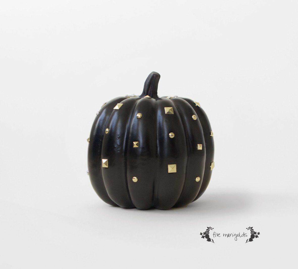 Black Stud Halloween Pumpkin | Five Marigolds