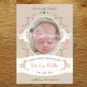 Vintage Sophisticated Floral baby girl birth announcement | Five Marigolds