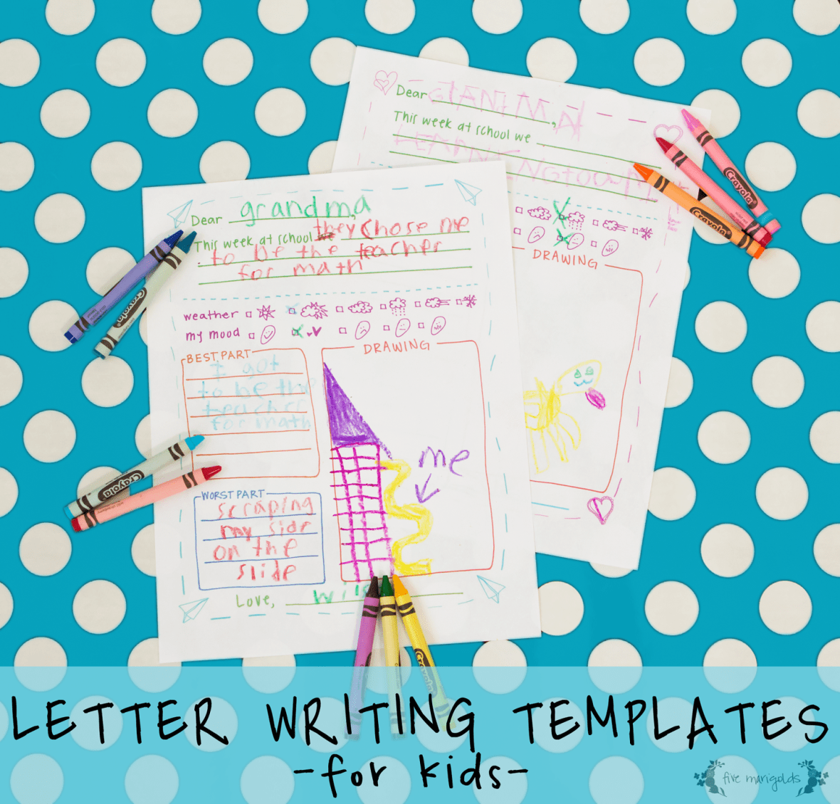 Letter to Grandma Printable Templates | Five Marigolds