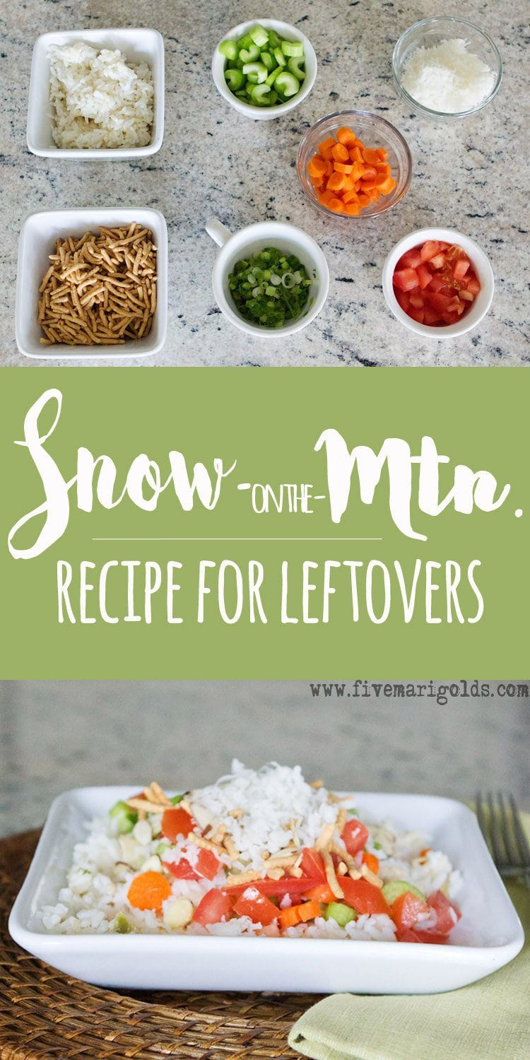 Brilliant way to use up leftovers in the fridge and pantry: Snow on the Mountain.