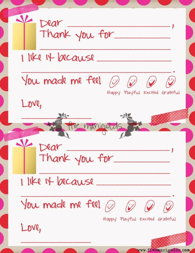 Christmas Thank You Note Template for Kids | www.fivemarigolds.com