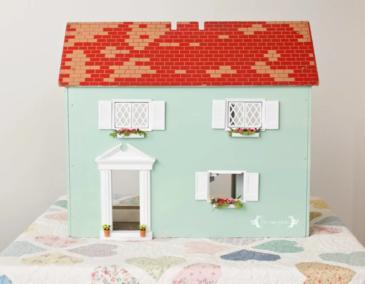Vintage Dollhouse Makeover Part II Exterior | www.fivemarigolds.com