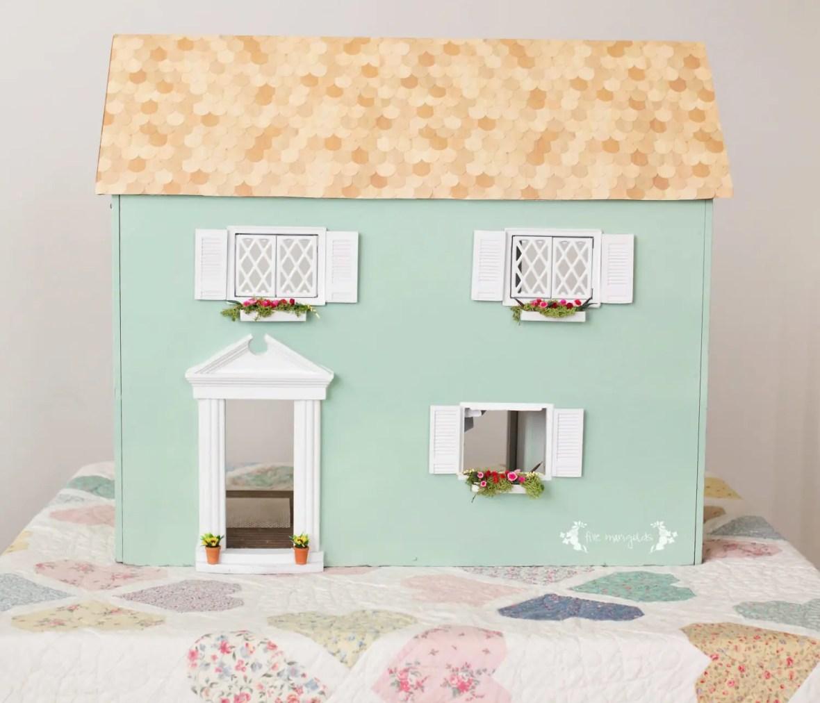 Vintage Dollhouse Makeover Part II Exterior | www.fivemarigolds.com