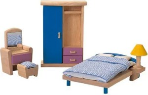 Plan Toy dollhouse bedroom furniture | Five Marigolds