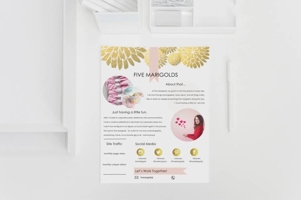 Free media kit template for bloggers five marigolds free media kit template for bloggers fivemarigolds pronofoot35fo Images