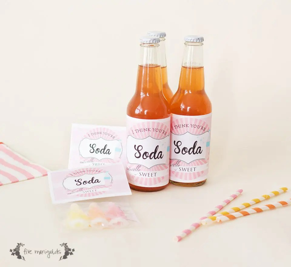 Soda Shoppe Valentine Day Tag and Bottle Wrap Printables   www.fivemarigolds.com