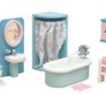 Le Toy Van Furniture. VIntage Dollhouse Remodel: Bathroom and Laundry Room for less than $10 | www.fivemarigolds.com