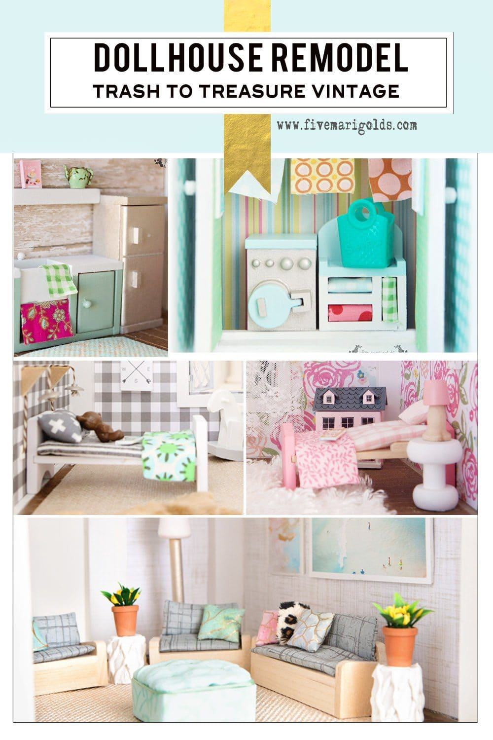 This blog shows a room-by-room vintage dollhouse remodel on a budget! | Five Marigolds