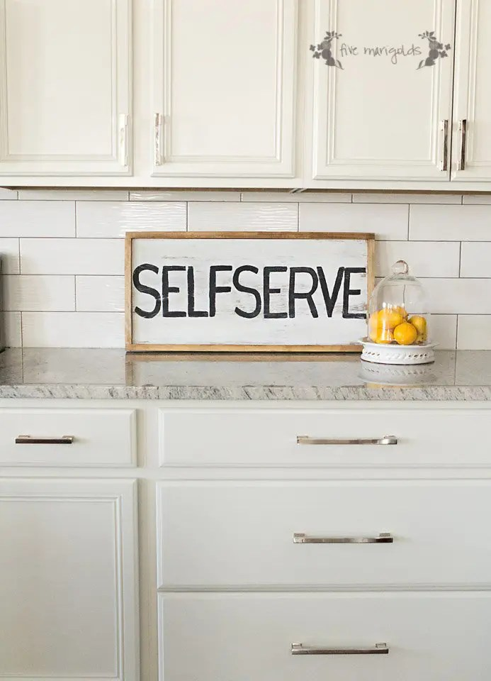 DIY Upcycled Self Serve Kitchen Sign | Five Marigolds