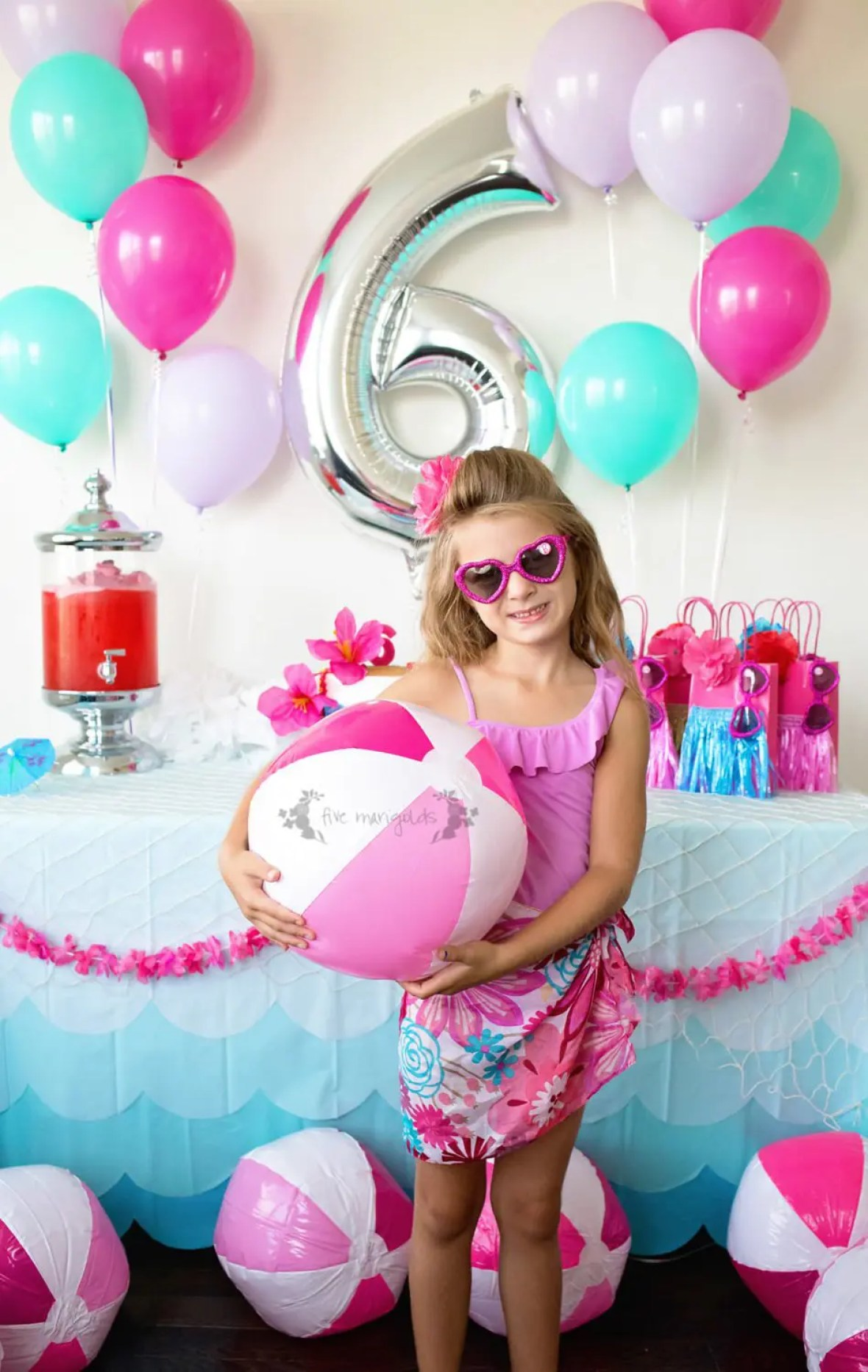 How to Throw a Custom Malibu Barbie Pool Party Birthday for Under $50 | Five Marigolds