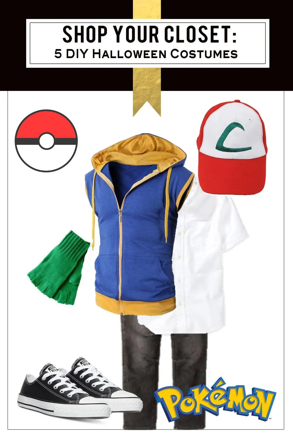 Shop Your Closet for Halloween: 5 Free and Fabulous Costumes Pokemon Ash Ketchum, Suicide Squad Harley Quinn, Game of Thrones Shae and Khaleesi, Happy Love Cat Emoji | Five Marigolds