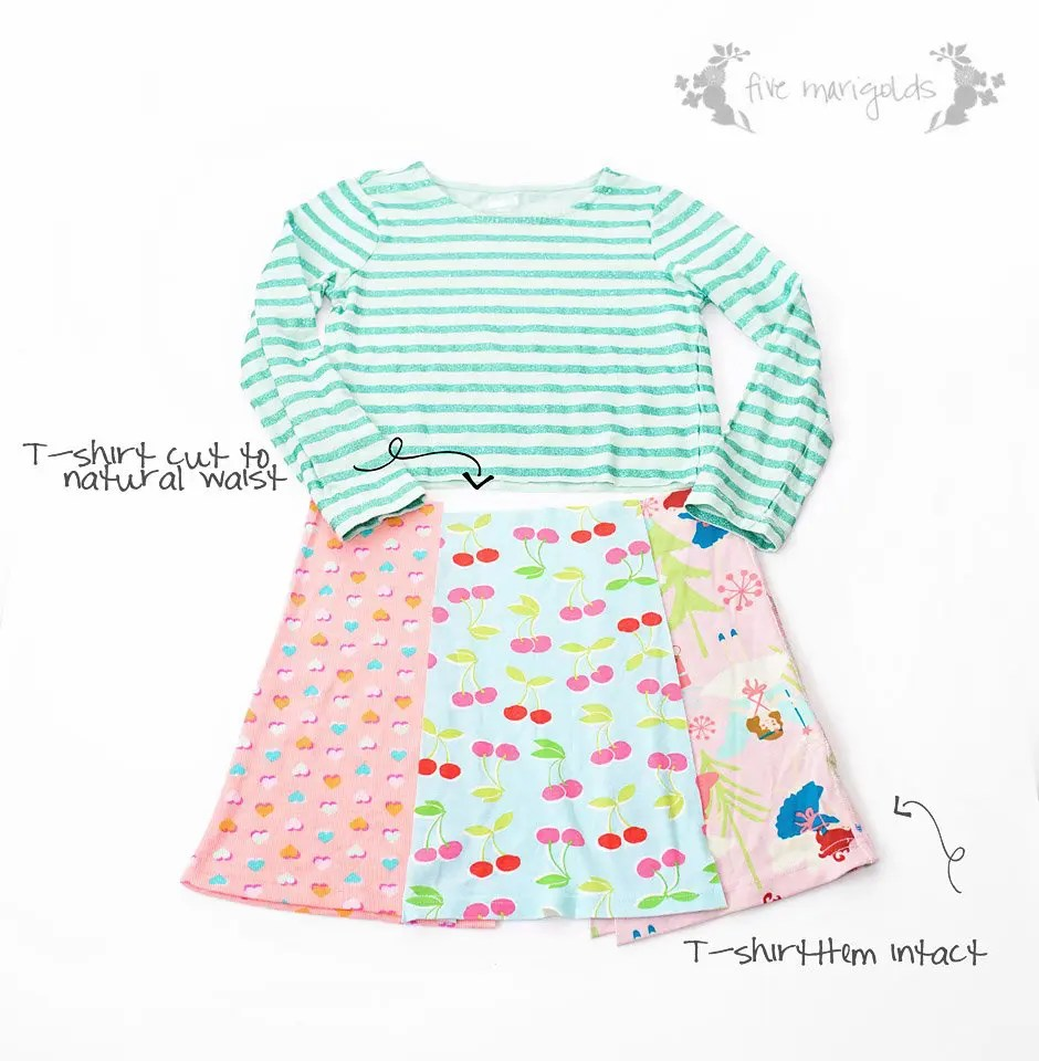 Such a good idea! Refashion upcycled T-shirts to create a custom knit dress for little girls. Upcycled t-shirt dress tutorial  Five Marigolds