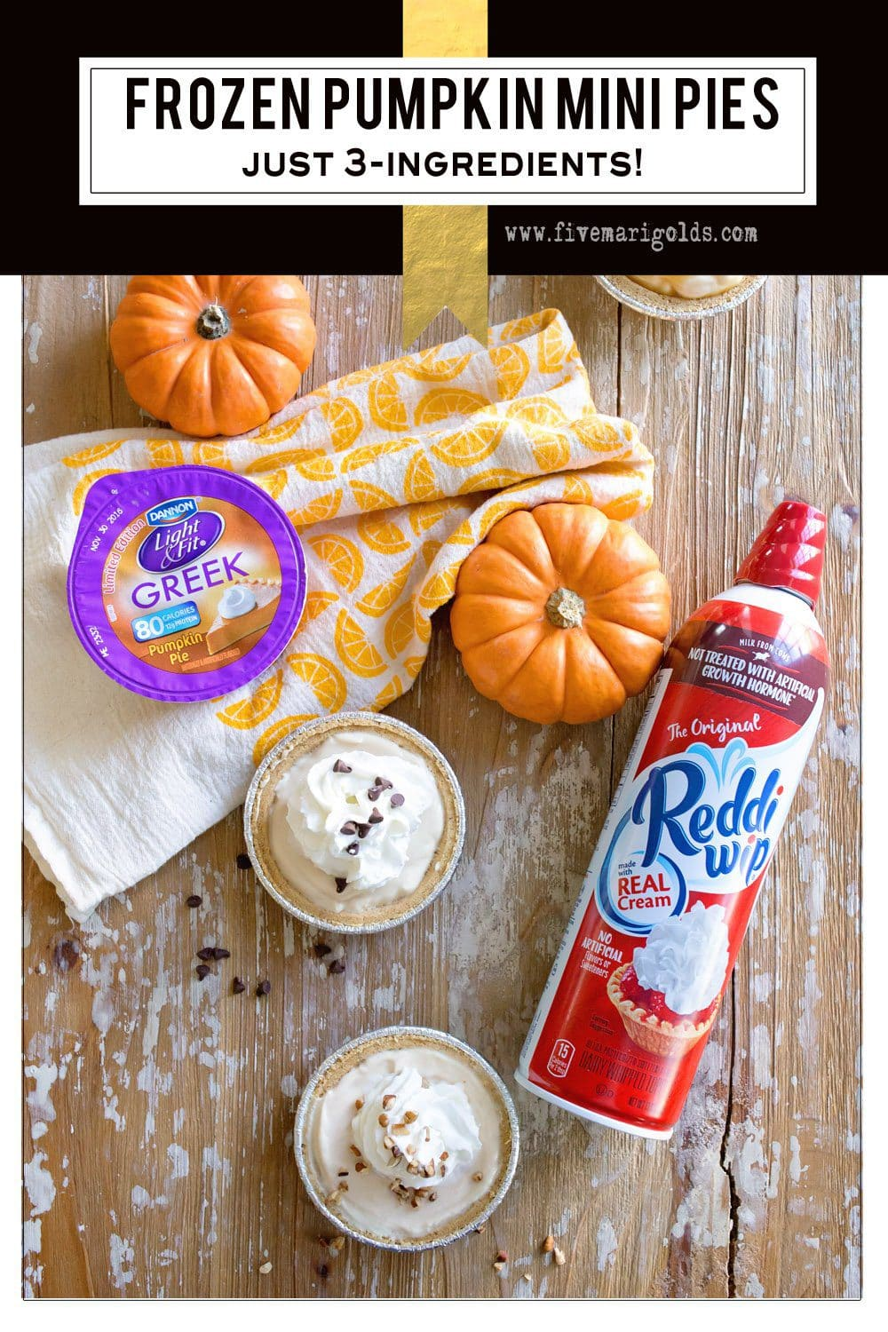 3 Ingredient Frozen Pumpkin Mini Pies - your favorite pumpkin dessert, lightened up! #EffortlessPies #ad