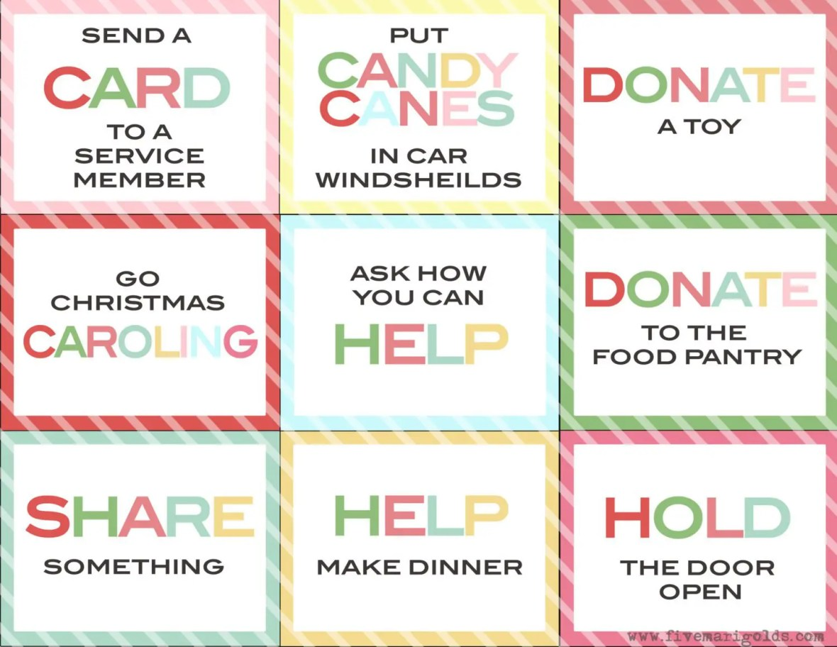 Great family activity for Christmas - Random Acts of Kindness. Free Printables with ideas and handouts.