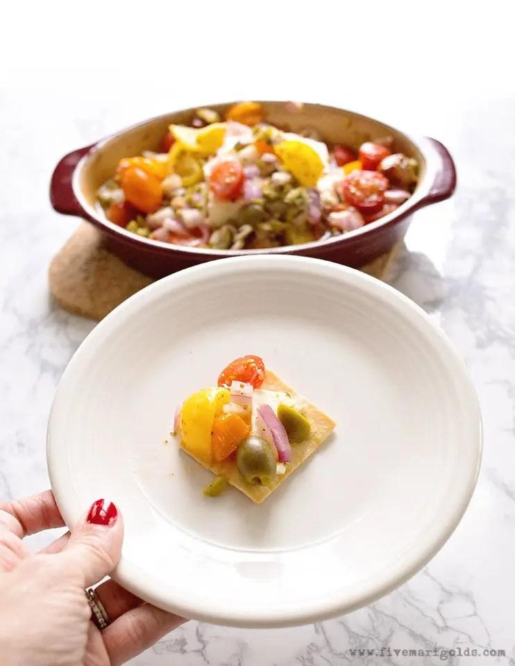 Baked Feta with Mediterranean Salsa Recipe | Five Marigolds #ad