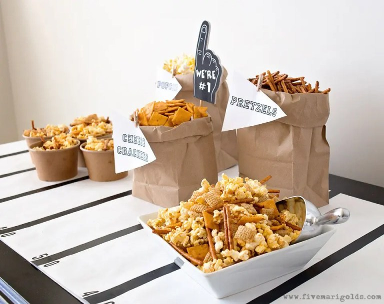 Sweet and Spicy Party Mix Recipes | Five Marigolds #ad #AllStarSnackBar