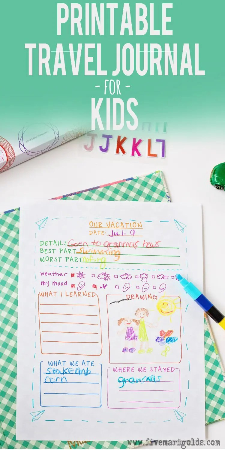 Brilliant! Free printable travel journal template for kids! Great for summer vacations and spring break travel.   Five Marigolds