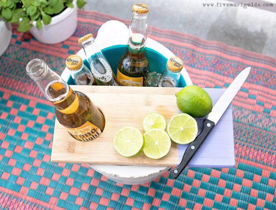 DIY Industrial Cooler + Convertible Planter for less than $10 | Five Marigolds #SummertimeCerveza #ad