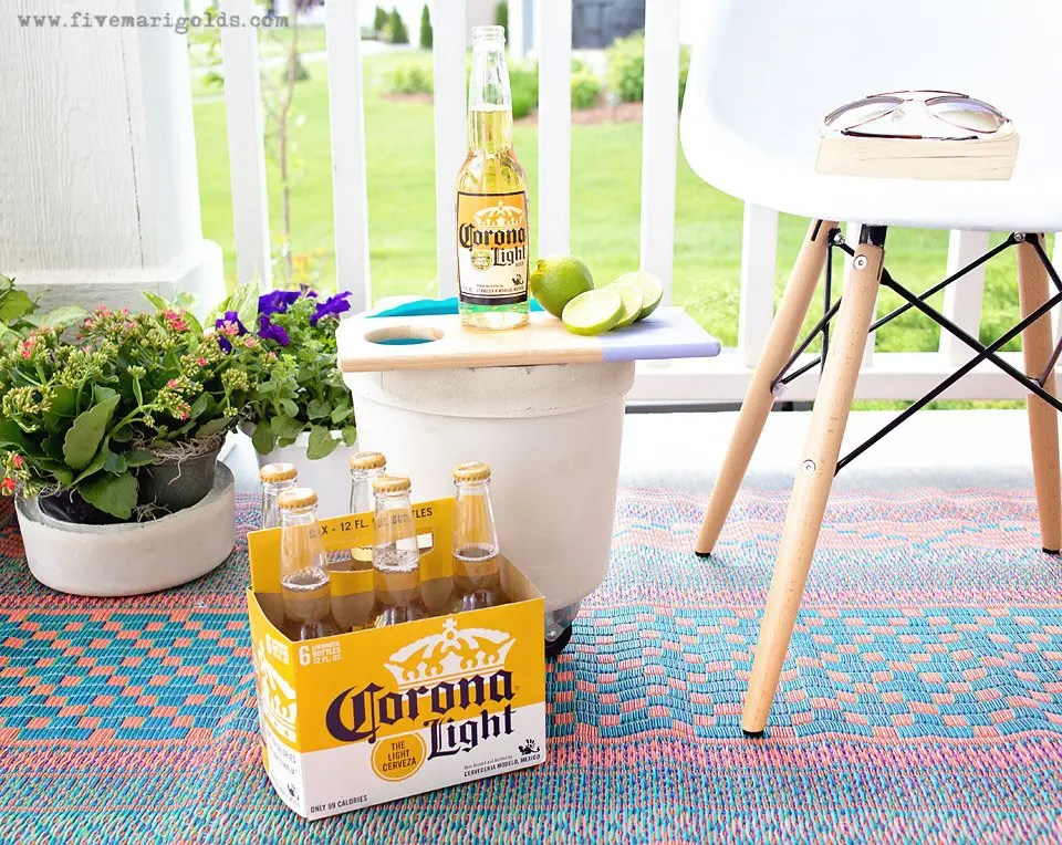 DIY Industrial Cooler + Convertible Planter for less than $10 | Five Marigolds #SummertimeCerveza #ad