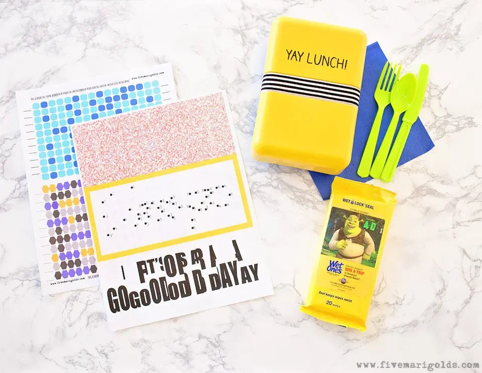Secret Message Lunchbox Notes | Five Marigolds