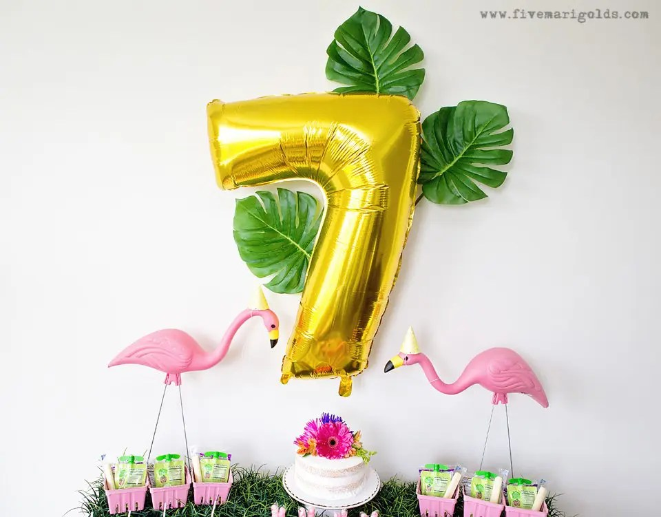 Girly Pink Flamingo Birthday Party - tropical pool party for girls with DIY tutorials for easy Flamingo Favor bags and bow napkin rings | Five Marigolds